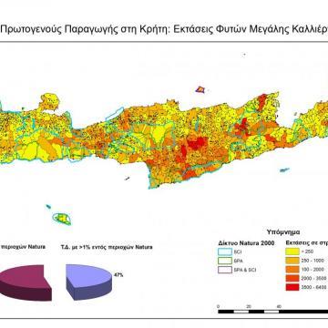 Εκτάσεις φυτών μεγάλης καλλιέργειας στις ΤΚ της Κρήτης